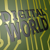 PCB Board with digital world
