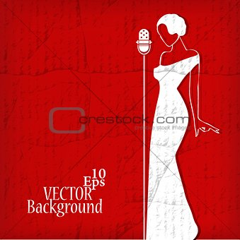 Abstract retro girl on red - vector illustration