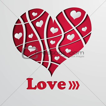 Abstract background with red strip heart - vector illustration