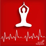 silhouette yoga poses on a red background with cardiogram - vector illustration