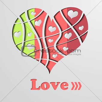 Abstract background with color strip heart - vector illustration