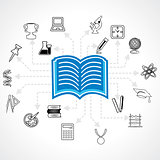 set of educational icon around pencil book