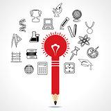 set of educational icon around pencil bulb