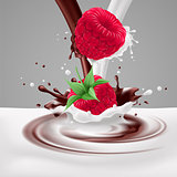 Raspberries with milk and chocolate