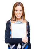 Happy Business Woman Holding Empty Blank Board