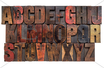 alphabet in letterpress wood type