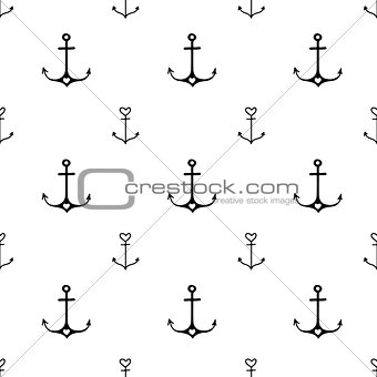 Old school tattoo style hand drawn nautical pattern