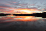 Sunrise reflections Narrabeen Lakes NSW Australia