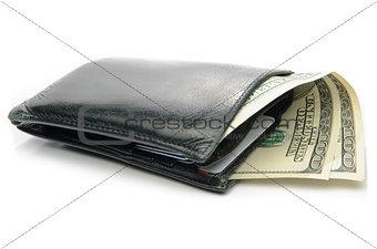 Black Leather Bi-Fold Wallet on a White Background