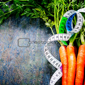 fresh carrots measurement tape
