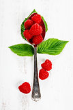 Fresh organic raspberry in a spoon.  Selective focus