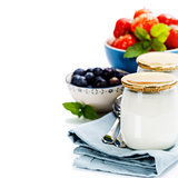 Healthy breakfast - yogurt with muesli and berries