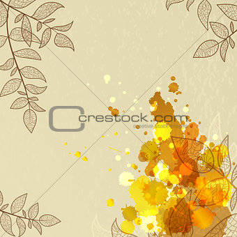 background with orange blots and leaves