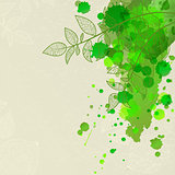 background with green blots and leaves