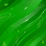 abstract wave background with leaves for design