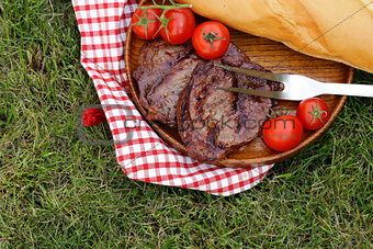 grilled meat beef steak outdoors picnic