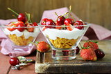 Dairy yogurt dessert with cherries and strawberries