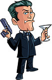 Cartoon spy character with martini