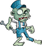 Cartoon zombie plumber with wrench