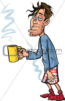 Cartoon youth who has just woken up