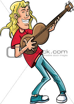 Cartoon rock singer with guitar.