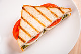 Bread sandwich with cheese, tomato. Healthy vegetarian snacks. fast food.