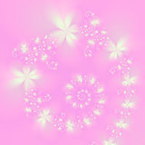 White Spiral Flowers on Pink