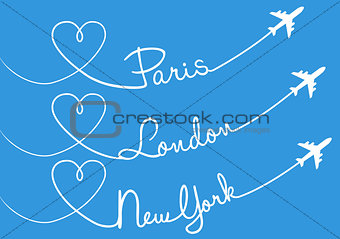 Love flying, vector set