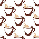 Coffee cup  with cream seamless pattern