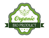Organic bio product emblem or label