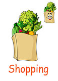 Brown shopping bag with fresh groceries