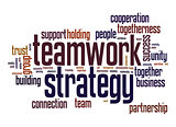 Teamwork strategy word cloud