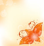 Autumnal background with set orange leaves