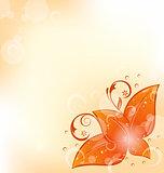 Autumnal background with set orange leaves