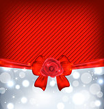 Festive background with gift bow and rose