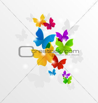 Abstract rainbow butterflies, colorful background