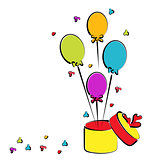 Open gift box with balloons for your birthday, colorful sketch