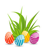 Easter background with traditional colorful eggs