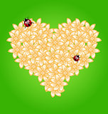 Romantic heart flowers and ladybug