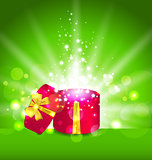 Christmas background with open round gift box