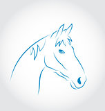 Hand drawn head horse isolated on white background