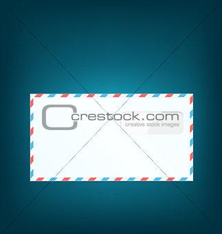 Single close envelope on blue background