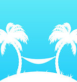 Tropical paradise background with palm trees and hammock