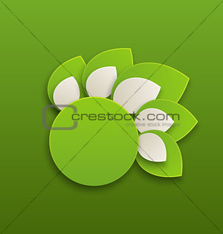 Circle label with green leaves