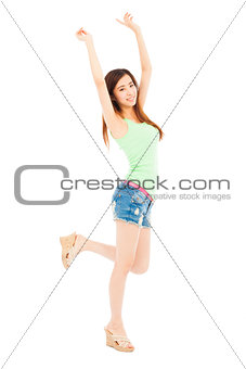 beautiful young girl standing and raise her arms