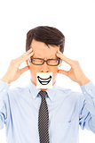 businessman with headache and smile expression on sticker