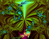 Abstract Green Blue Fractal Flowers