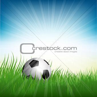 Football or soccer ball nestled in grass