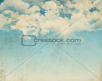 Grunge background of a sunny blue sky