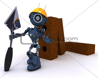 Android with bricks and trowel